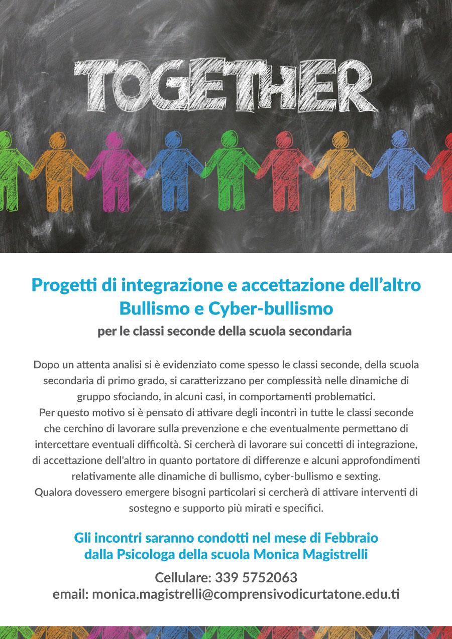 Progetti di integrazione e accettazione dell'altro  Bullismo e Cyber-bullismo per le classi seconde della scuola secondaria